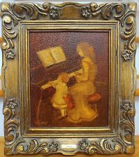VINTAGE RUTH VAMOS ORIGINAL OIL BOARD FRAME PAINTING 16x18 MOTHER CHILD PIANO
