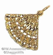 Hand Fan Charm Pendant EP Gold Plated Jewelry with a Lifetime Guarantee