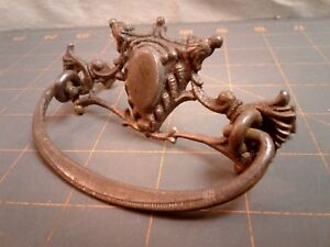 Victorian Fancy Drawer Pull Cast Brass Steel Bail w Eyelets and Nuts 1930s