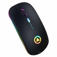 Souris Sans Fil Optique Ultra Mince Wireless Gaming 2.4ghz RGB  USB Ordinateur