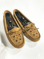 Minnetonka Women's Studded Grommet Moccasins US 9.5 Brown Suede Leather 69493