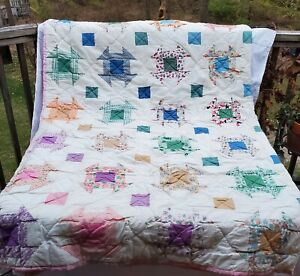 Vintage Hand Made Quilt Twin Size Multi Color Abstract Squares Pink Trim