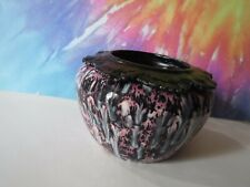 Large Pink With Black And White African Violet Ceramic Pot/Planter