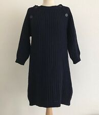 DUTCHESS Navy Wool & Cashmere Chunky Knit Winter Jumper Dress UK 10
