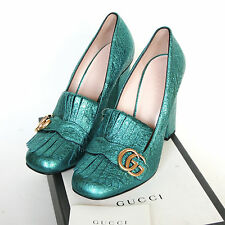 GUCCI metallic shoes GG Marmont Galassia kiltie fringe high heels pumps 40 NEW