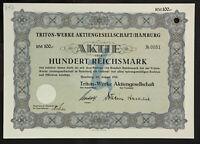 🇩🇪GERMANY 843/M -Triton-Werke Aktiengesellschaft / Hamburg 1941 100 RM🇩🇪
