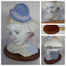 Vintage Porcelain Sad Face Clown Head Bust Collectible with Wooden Coaster