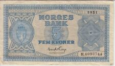 Norway  banknote P25d-3744 5 Kroner 1951 Prefix H, F-VF   We Combine