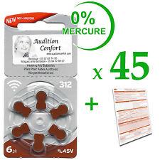 45 plaquettes de 6 piles auditives RAYOVAC N° 312 (PR41)  free mercure