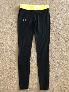 Women's Under Armour Cold Gear Fitted Stretch Lined Black/Yellow Leggings Size S