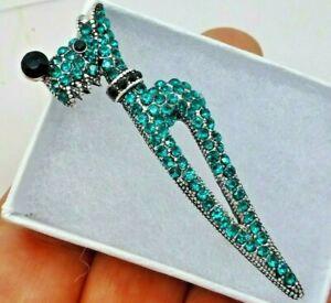 Dog brooch scottie terrier rhinestone crystal art deco vintage style in gift box
