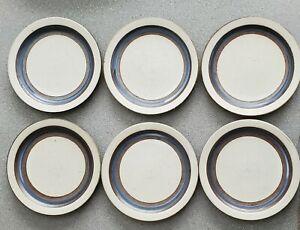 "6 Vintage Japan Otagiri Horizon Blue Stripe Stoneware 8 1/2"" Lunch Salad Plate"