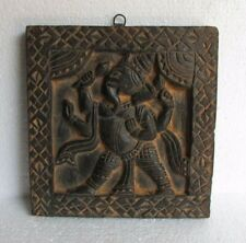 Vintage Old Hindu God Ganesha Sculpture Wall Panel Wooden Carved Collectible