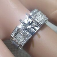 14k WHITE GOLD NATURAL DIAMOND PAVE SEMI MOUNT ENGAGEMENT WEDDING RING