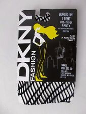 DKNY Women's Graphic Net Tights MId Thigh Panty Black Size Small