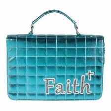 FAITH Blue Bible Cover  Girl Shiny Quilted Child's Bible or Missal Cover Bag