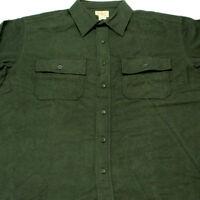 LL Bean mens Long Sleeve Chamois Cloth Shirt Heavy Flannel Dark Green large Nice