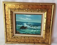 "Vintage Original Poonil Signed Oil On Canvas Painting Ocean Beach Surf 8"" X 10"""