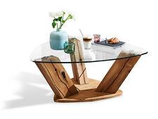 PRAG Couchtisch Wohnzimmertisch Tisch Massivholz Holz Wildeiche Glas Dreieckig