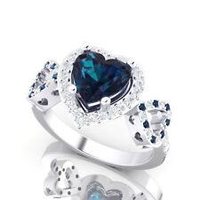 Alexandrite Blue Forever Love Diamond Engagement Promise Heart Ring Ladies Women
