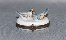 Peint Main Limoges Two Ducks Swimming Brass Mounted Box
