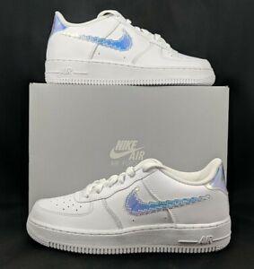 Nike Air Force 1 Low Women's 8.5 / GS 7Y White Iridescent Swoosh CW1577-100 NIB