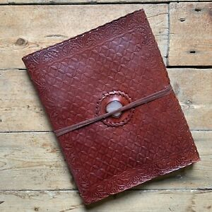 """13"""" Vintage Leather Journal Sketchbook Scrapbook Diary Notebook White Stone"""