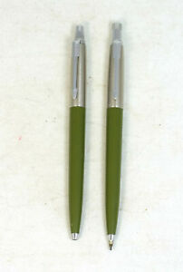 Vintage Parker Jotter Olive Green Ballpoint Pen Mechanical Pencil Set