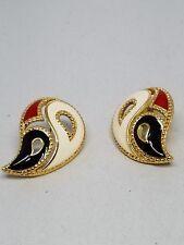 Paisley shaped Enamel Pierced AVON Earrings Red Black White Gold Tone