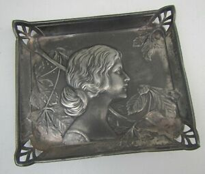 Old Art Nouveau Pewter Decorative Pin Tray / Dish