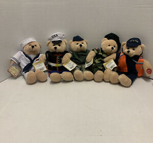 Chantilly Lane Musical Bear Uniform America's Military Heroes Edition Lot Of 5