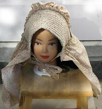 Authentic 1800's Shaped Cloth Bonnet SUNBONNET extra long curtain Free Shipping