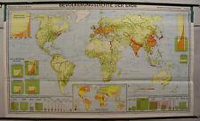 schöne Schulwandkarte Weltkarte Menschen Bevölkerung Erde 237x140 1967 vintage