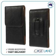E2 Black Leather Belt Clip Case Pouch Cover Holster Telstra Slim Plus Blade L5