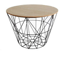 Large Wooden Table Metal Wire With Lid Storage Basket Round Coffee Bedside