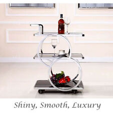 DRINKS TROLLEY STAINLESS STEEL THICKENED TEMPERED GLASS SHELVES