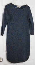 Ann Taylor LOFT Wool Blend Blue Grey Leopard Print Sweater Dress Career Sz PS