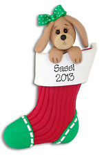 DOG IN STOCKING Personalized Christmas Ornament HANDMADE Polymer Clay Deb & Co.