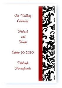 100 Personalized Custom Damask Wedding Ceremony Programs