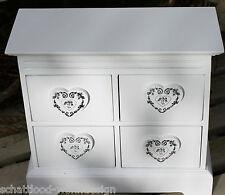 Coffret mini-kommode blanc cœur Armoire à bijoux bois Boîte à bijoux rangement