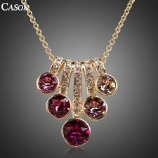 Fashion Women Pink Austrian Crystal Pendant Yellow Gold Plated Necklace Jewelry