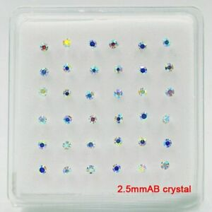 Women 2.5mm Crystal Nose Stud Nose Pin 925 Sterling Silver Bone Piercing Jewelry