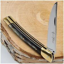 Couteau LE THIERS PARAPLUIE plaquettes corne + laiton-Pocket knife-108mm fermé