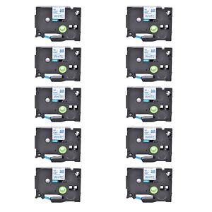 "10PK Compatible Brother PT-1160 TZ-233 TZe-233 Blue on White Label Tape 0.47"""