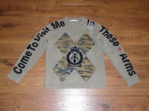 RARE JC de Castelbajac Distressed Wool Sweater Come To Visit Me In These Arms 52