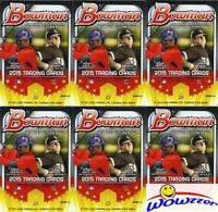 (6)2015 Bowman Baseball EXCLUSIVE Factory Sealed Hanger Box-30 YELLOW PARALLELS