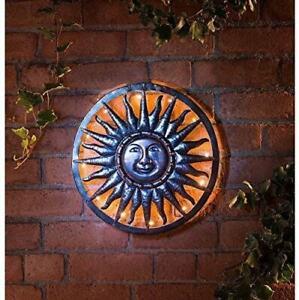 Bronze 40cm Solar LED Light Metal Sun Garden Deco Ornament Wall Art