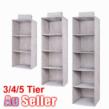 4 Section Hanging Wardrobe Organiser Clothes Storage Garment Shelves Shoe Tidy