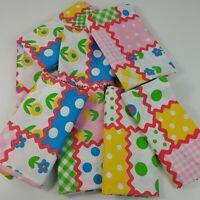Lot of Bright Colorful Scrap Remnant Fabric Floral Polka Dots Checks Plaid