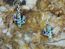 Southwest Saguaro Cactus Sterling Silver Multi Stone Inlay Pair of Earrings M